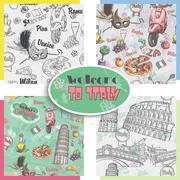 Set of seamless textures on italy, architecture, food, transportation. Stock Illustration