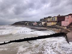 UK, Norfolk, Cromer, Stormy weather at seaside Stock Photos