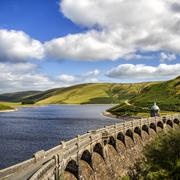 UK, Wales, Powys, Elan Valley, View of ancient aqueduct and lake Stock Photos