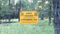 US Forest Service Forest Research Sign 4K Stock Footage