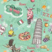 Seamless texture on italy with a picture of the food, architecture, and vario Stock Illustration