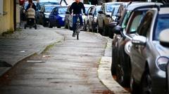 Bicycle Cyclist pedal up on Bike way lane pavement Stock Footage