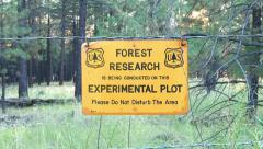 US Forest Service Forest Research Sign Stock Footage