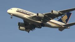 Singapore Airlines Airbus A380 on final approach to London Heathrow Airport, UK. Stock Footage