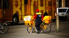 Postman Bicycle Cyclist pedal on Bike way lane pavement Stock Footage