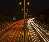 Light trails on motorway Stock Photos