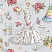 Seamless texture with the image of wedding dresses, glasses, rings, cake and Stock Illustration