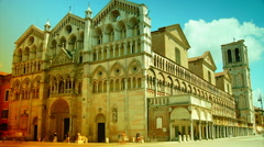 Stock Video Footage of Main square with romanesque cathedral in Ferrara, Italy.time lapse