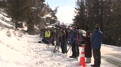 Recreation Yellowstone National Park Winter Wolf Watchers Wildlife Viewing Stock Footage