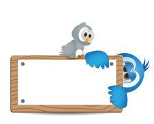 illustration bird peeked with text box - stock illustration