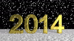 Close up Golden Year 2014 on Snow Stock Footage