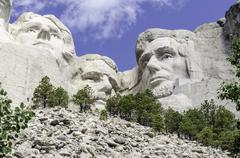 USA, South Dakota, Mount Rushmore, View of Mt Rushmore National Monument Stock Photos