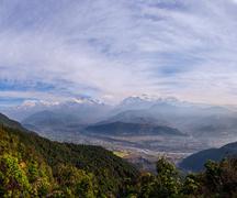 Nepal, View of Annapurna Range from Sarangkot village - stock photo