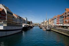 Denmark, Copenhagen, Nyhavn, Colorful harbor of Copenhagen - stock photo