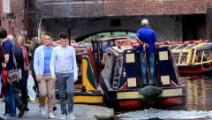 Boat traffic on the canal Stock Footage