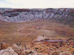 View to meteor crater - stock photo