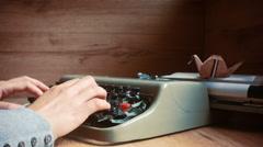 Typewriter and writing Stock Footage