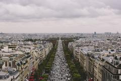 France, Paris, Elevated view of Champs- Elysees - stock photo