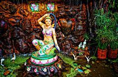 Thailand, Wat Ban Sam Lan, Temple and Temple Garden Stock Photos
