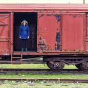 Croatia, Zagreb, Women on old train Kuvituskuvat