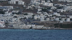 Mykonis Greece city from boat HD Stock Footage