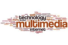 multimedia word cloud - stock illustration