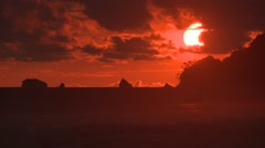 Ocean Corcovado National Park Winter Sunset Orange Sky Waves Surf Rocks Sun Stock Footage