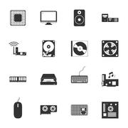 Computer peripherals and parts black and white flat icons set Stock Illustration