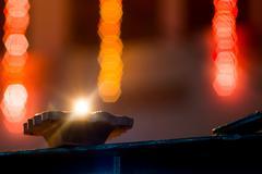 Earthernware lamp lit on diwali Stock Photos