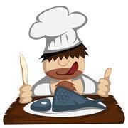 paleo chef - stock illustration