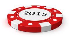 new year 2015 casino chip - stock illustration