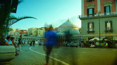 Architecture of Plebiscito Square in Naples, Italy,time lapse , 4k Stock Footage