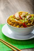 chicken curry rice with crispy chinese omellete - stock photo