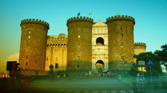 Sunset of the medieval castle of  Castel Nuovo, time lapse , 4k - stock footage