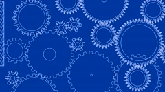 Gear cogs rotating system gearbox blueprint mechanism Stock Footage