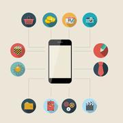 Flat Design Concept Mobile Phone Apps Vector Illustration. - stock illustration