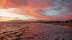 Venice Beach Dusk Surf Time Lapse Stock Footage