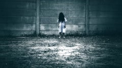Spooky Little Girl Exterior Stock Footage
