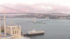 Ortakoy scene and Ortaköy Mosque Stock Footage
