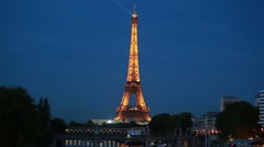 The illuminated Eiffel Tower Stock Footage