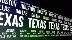 Texas State and Major Cities Scrolling Banner Stock Footage