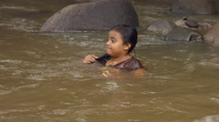 Closeup of girl on the river Stock Footage