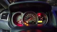 check light warning and start engine car. - stock footage