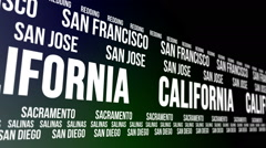 California State and Major Cities Scrolling Banner Stock Footage