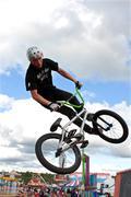 Bmx rider performs midair stunt at georgia state fair Stock Photos
