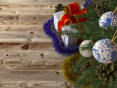 Christmas tree with gifts on wood texture background Piirros