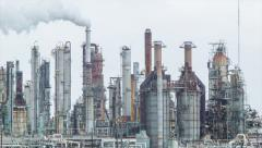 Oil Refinery Closeup Movement Stock Footage