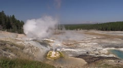 Mountain Yellowstone National Park Fall Steam Geyser Vulva Zoom In Stock Footage