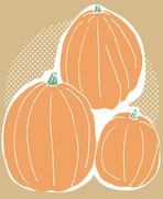 three pumpkin harvest - stock illustration