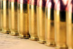 Rows of 45 caliber ammunition Stock Photos